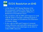 ecos resolution on ghg