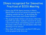 illinois recognized for innovative practices at ecos meeting