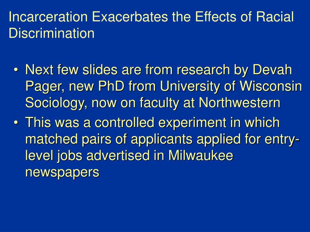 Incarceration Exacerbates the Effects of Racial Discrimination