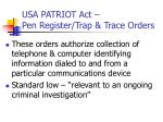 usa patriot act pen register trap trace orders