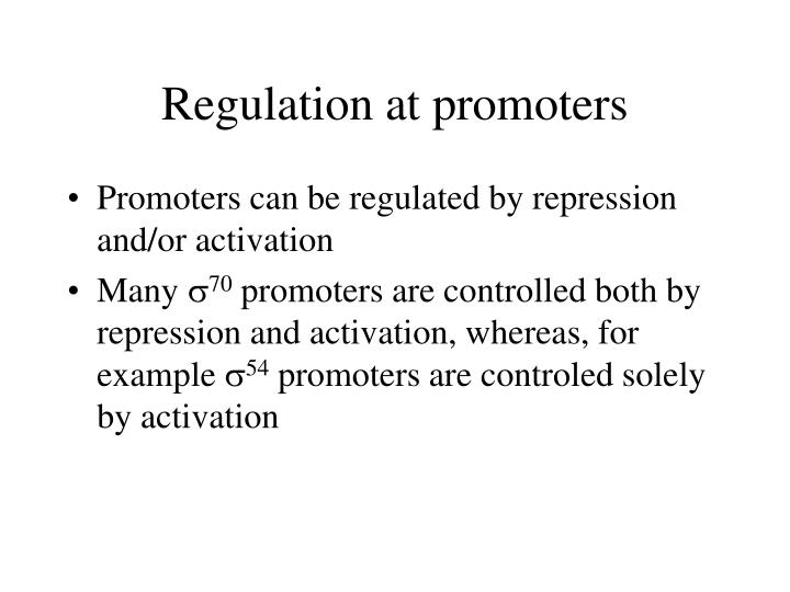 Regulation at promoters