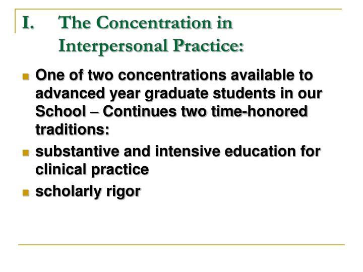 i the concentration in interpersonal practice n.