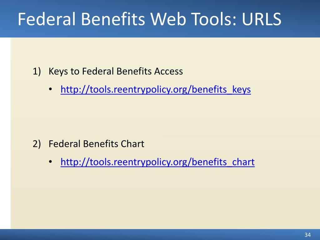 Federal Benefits Web Tools: URLS