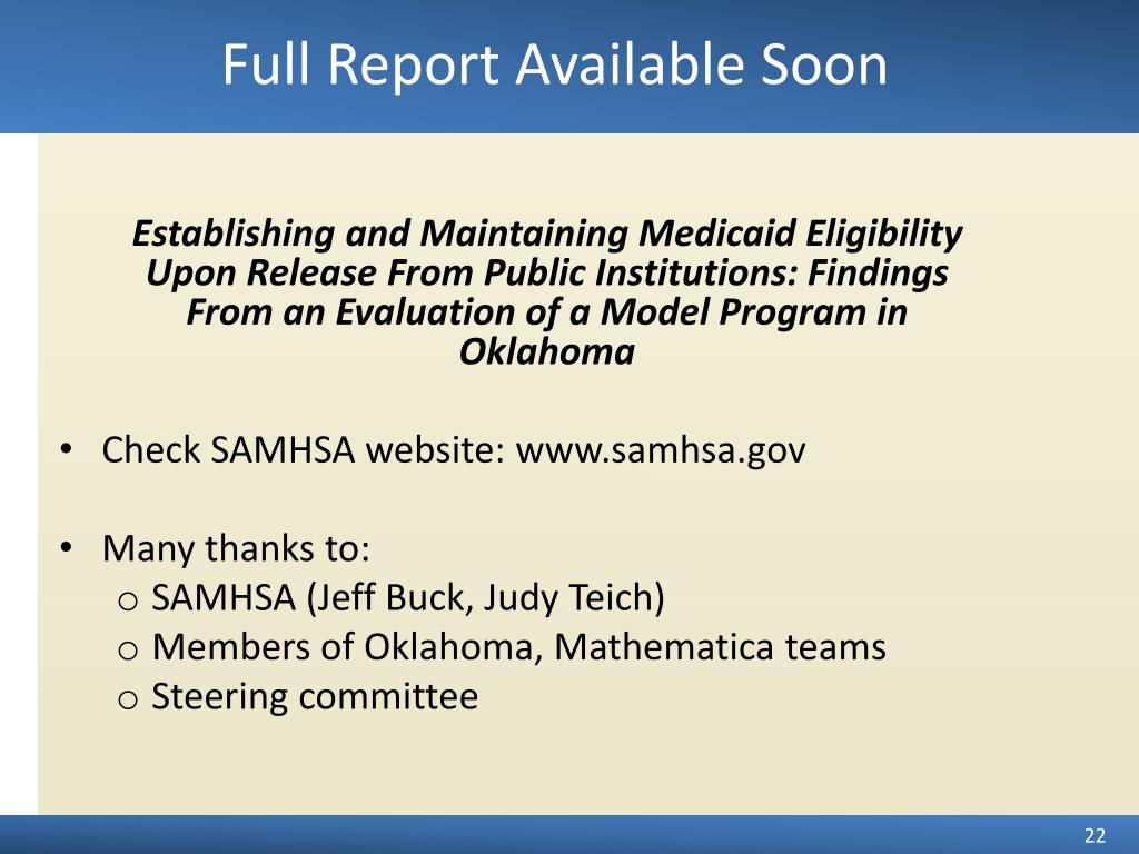 Establishing and Maintaining Medicaid Eligibility Upon Release From Public Institutions: