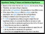 hypothesis testing p values and statistical significance