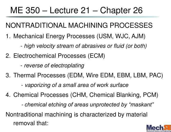 me 350 lecture 21 chapter 26 n.