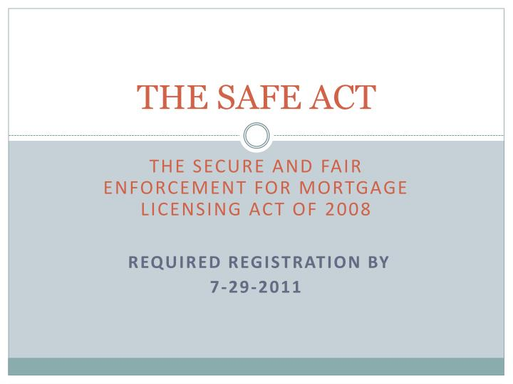 the safe act n.