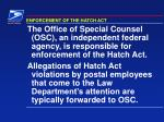 enforcement of the hatch act