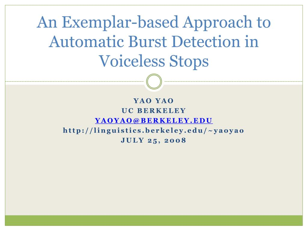 an exemplar based approach to automatic burst detection in voiceless stops l.