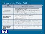 opportunity value added