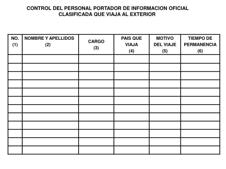 CONTROL DEL PERSONAL PORTADOR DE INFORMACION OFICIAL
