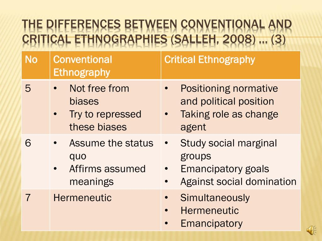 The Differences between conventional and critical ethnographies (