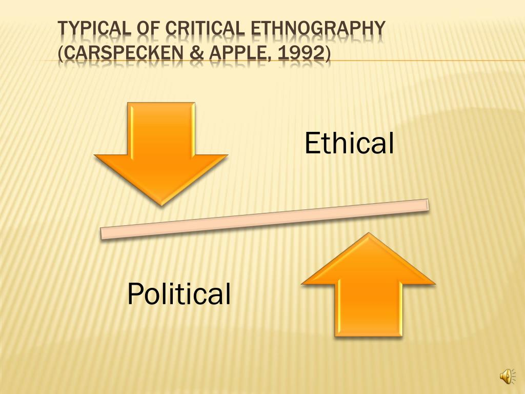 Typical of Critical Ethnography (