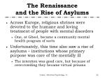 the renaissance and the rise of asylums1
