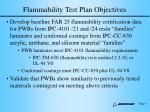 flammability test plan objectives