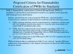 proposed criteria for flammability certification of pwbs by similarity