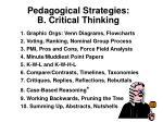 pedagogical strategies b critical thinking