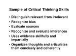 sample of critical thinking skills