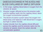 gaseous exchange in the alveoli and blood capillaries by simple diffusion