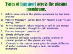types of transport across the plasma membrane
