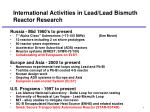 international activities in lead lead bismuth reactor research