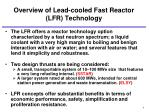 overview of lead cooled fast reactor lfr technology