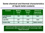 some chemical and thermal characteristics of liquid metal coolants