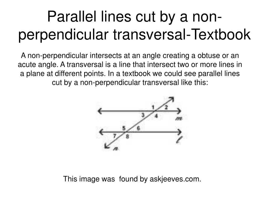 Parallel lines cut by a non-perpendicular transversal-Textbook