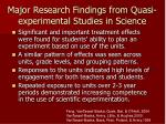 major research findings from quasi experimental studies in science