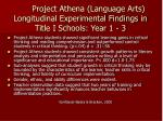 project athena language arts longitudinal experimental findings in title i schools year 1 3
