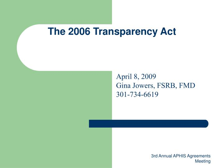 the 2006 transparency act n.