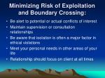 minimizing risk of exploitation and boundary crossing4