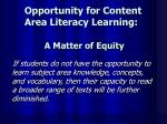 opportunity for content area literacy learning a matter of equity