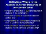 reflection what are the academic literacy demands of my content area