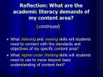 reflection what are the academic literacy demands of my content area1