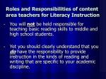 roles and responsibilities of content area teachers for literacy instruction