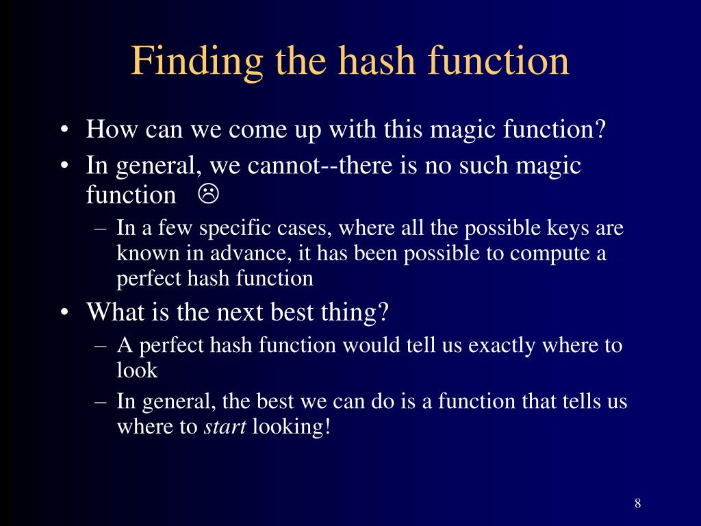 Finding the hash function