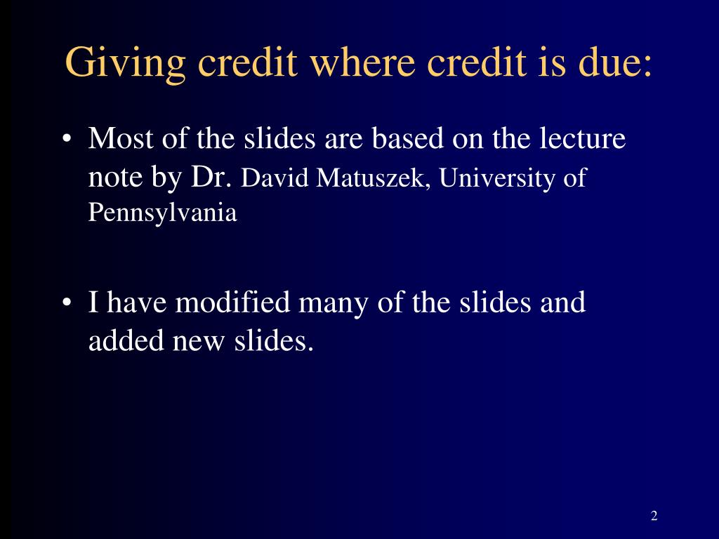 Giving credit where credit is due:
