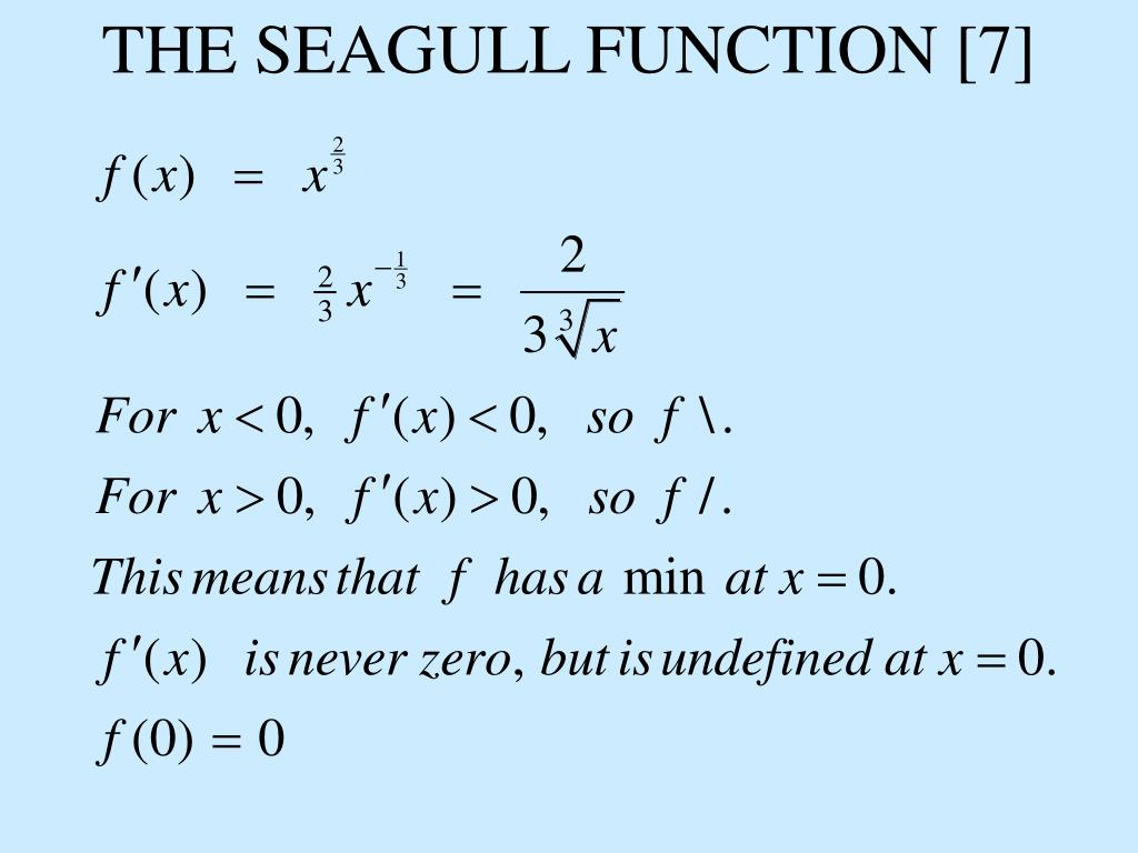 THE SEAGULL FUNCTION [7]