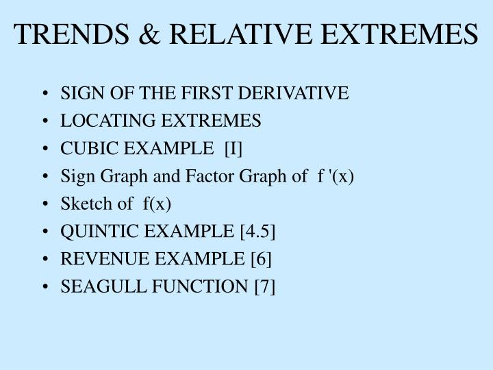 Trends relative extremes