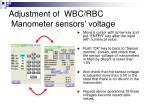adjustment of wbc rbc manometer sensors voltage15