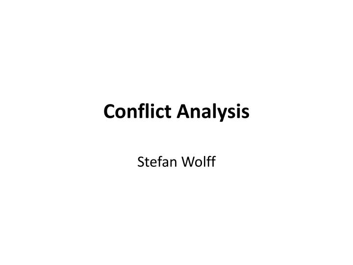 conflict analysis n.