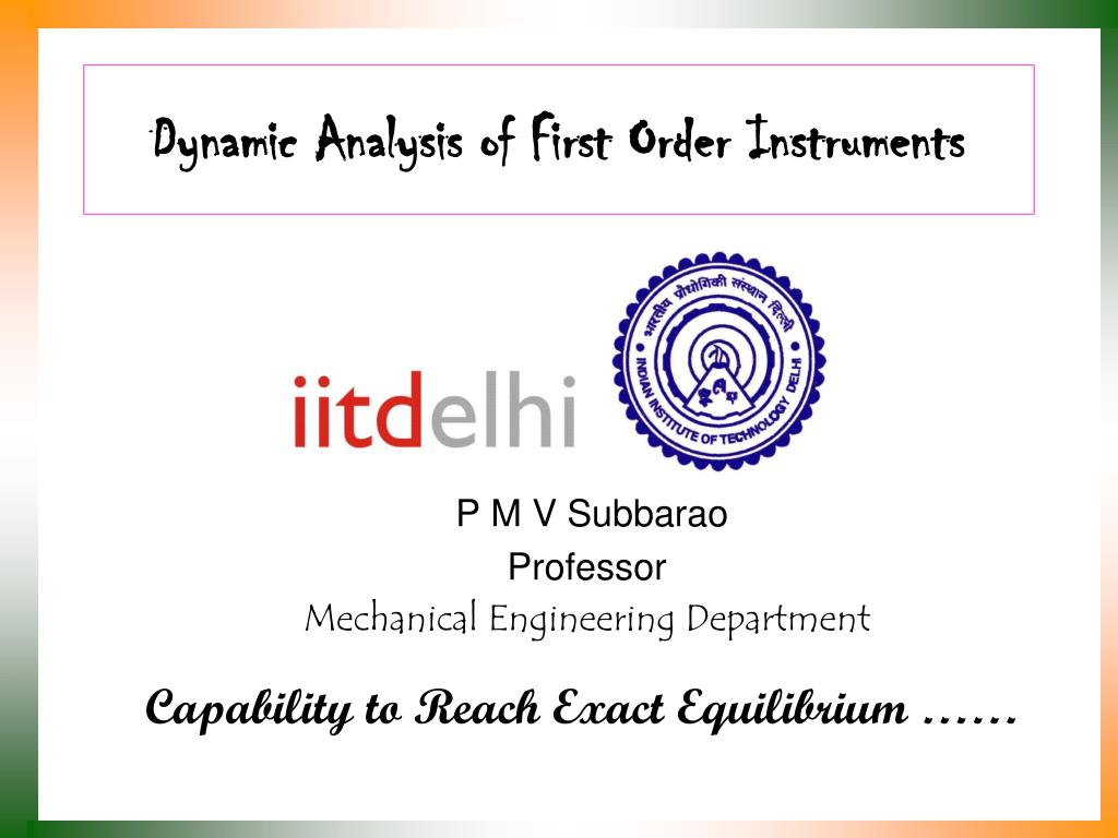 dynamic analysis of first order instruments l.