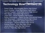 technology bowl written ii