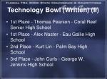 technology bowl written ii1