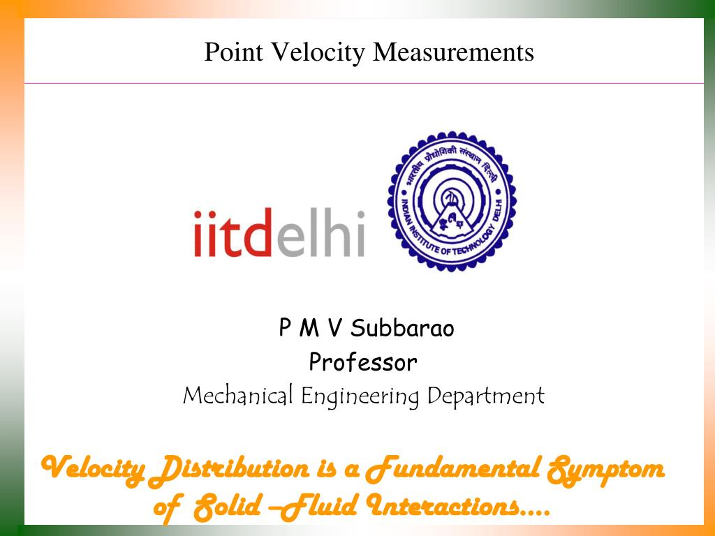 point velocity measurements l.
