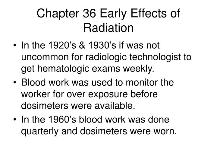 chapter 36 early effects of radiation n.