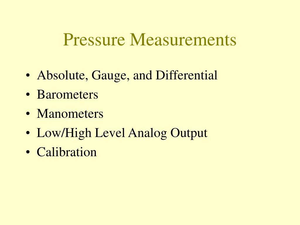 pressure measurements l.