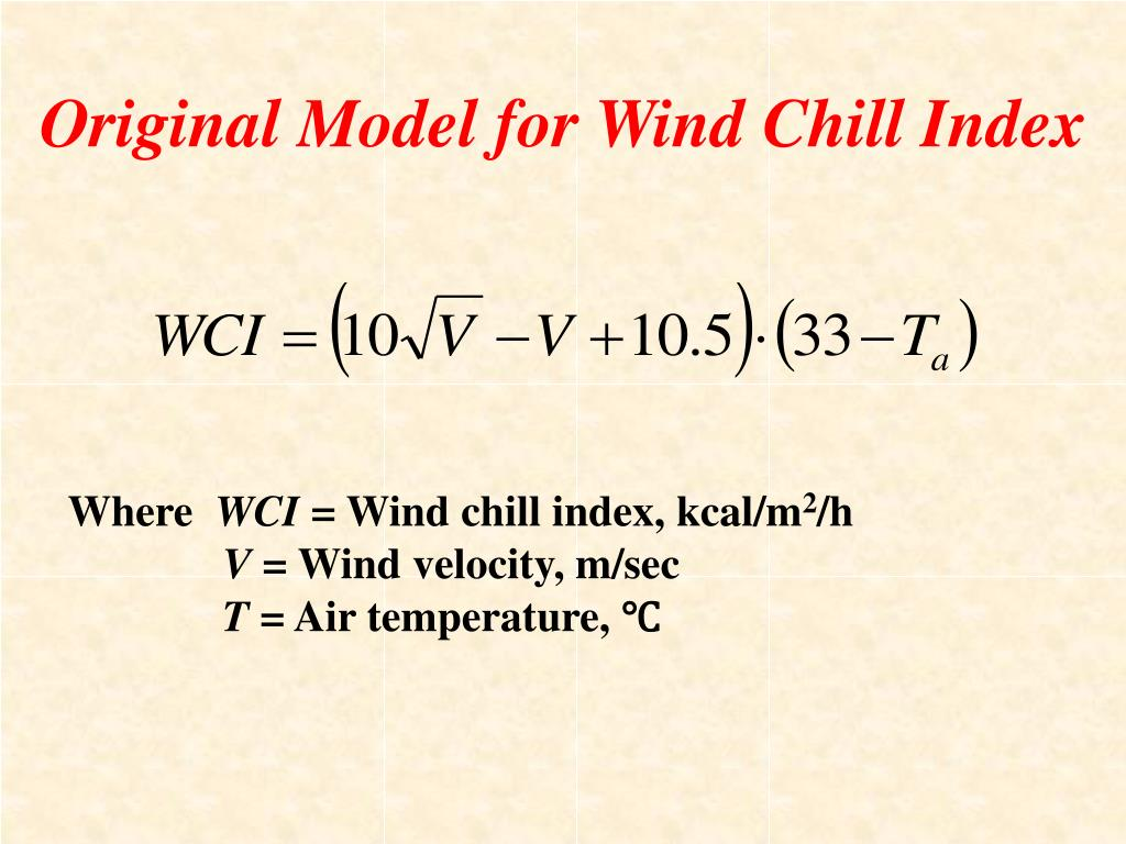 Original Model for Wind Chill Index