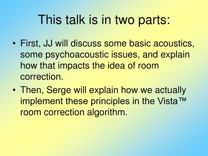 This talk is in two parts